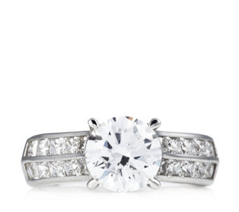 Diamonique 3ct tw Solitaire Ring Sterling Silver - 308364