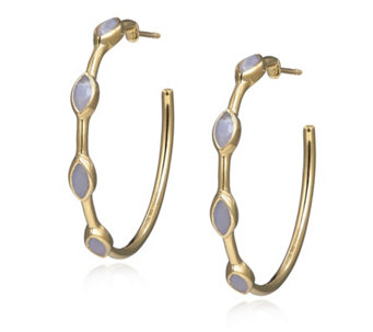 K By Kelly Hoppen Blue Agate Hoop Earrings 18ct Gold Vermeil Sterling Silver - 309364