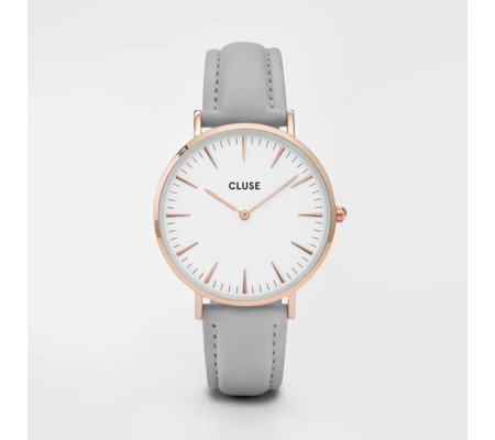 Cluse La Boheme White Dial Leather Strap Watch