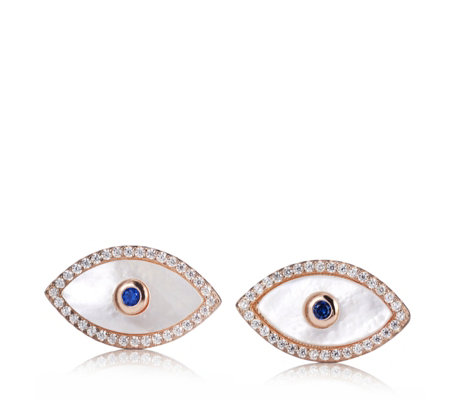 Butler & Wilson Sterling Silver Eye Earrings