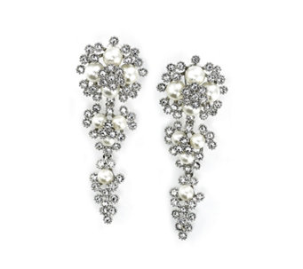 Frank Usher Chandelier Crystal & Simulated Pearl Earrings - 306065