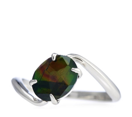 """As Is"" Canadian Ammolite Triplet Oval Bypass Ring"
