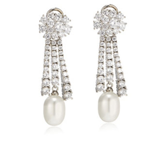 Elizabeth Taylor Simulated Pearl & Simulated Diamond Clip On Earrings - 307365