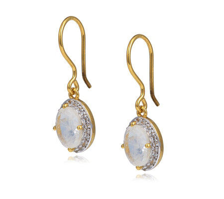 K By Kelly Hoppen White Shire Rainbow Moonstone Earrings Sterling Silver