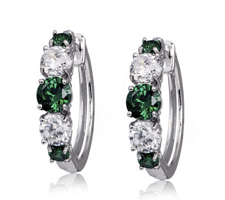 Diamonique 2.8ct tw Simulated Emerald Hoop Earrings Sterling Silver