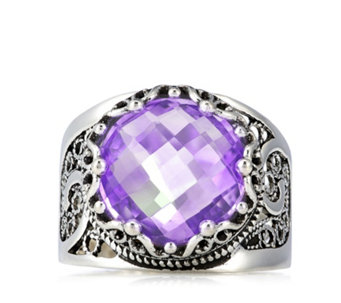 Ottoman 12mm Crown Gemstone Ring Sterling Silver - 308466