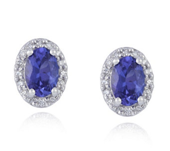 0.9ct AAA Tanzanite Oval Studs with 0.1ct of Diamonds 18ct Gold - 308866