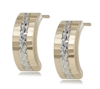 9ct Gold Bi Colour Diamond Cut Half Hoop Earrings - 317466