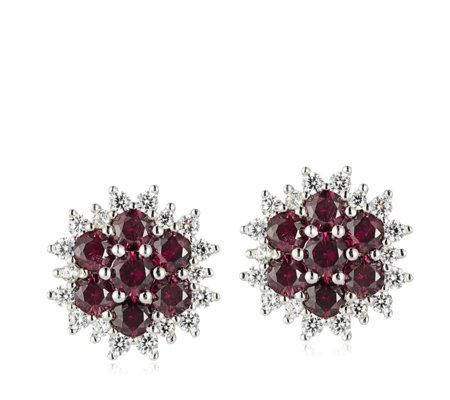 Diamonique 1 4ct Tw Simulated Ruby Flower Stud Earrings