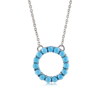 Sleeping Beauty Turquoise Eternity Circle 45cm Necklace Sterling Silver - 309667