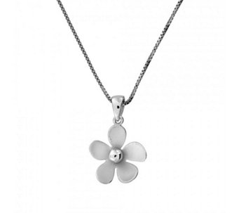 Azendi Frosted Flower 45cm Necklace Sterling Silver - 312167