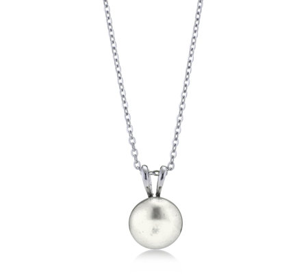 Honora 11-12mm Cultured Button Pearl Pendant & Chain Stainless Steel