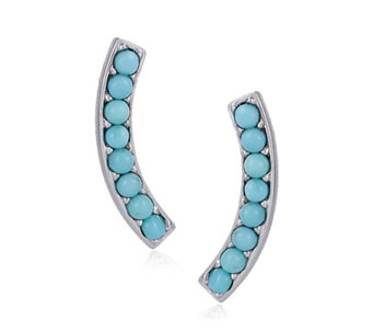 Sleeping Beauty Turquoise Ear Climber Earrings Sterling Silver - 309668