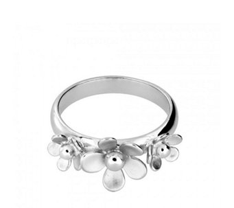 Azendi Frosted Flower Ring Sterling Silver - 312168