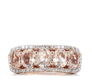 1.25ct Morganite & 0.24ct Diamond 5 Stone Ring 9ct Rose Gold - 320468