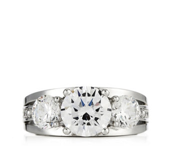 Platinum Plated Diamonique 3.5ct tw 3 Stone Ring Sterling Silver - 307269
