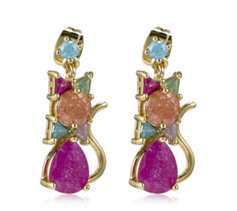 Butler & Wilson Crystal Cat Earrings - 312969