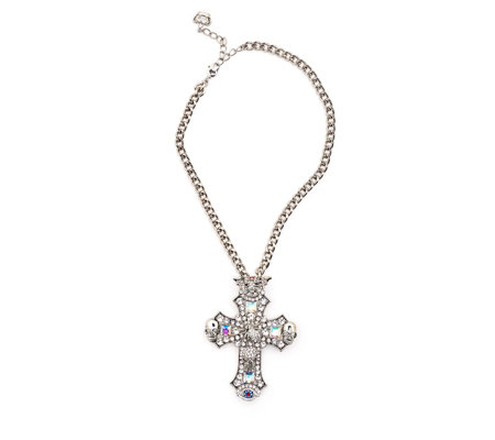 Butler & Wilson Crystal Cross 42cm Necklace
