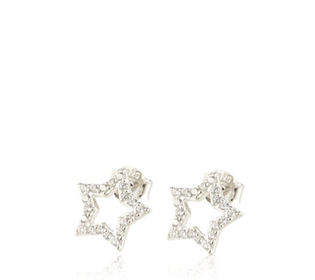 Diamonique 0.4ct tw Star Cut Out Stud Earrings Sterling Silver