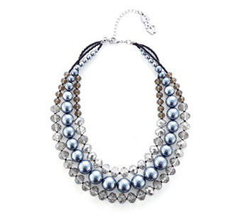Butler & Wilson Multi Row Crystal & Faux Pearl 41cm Necklace - 309170