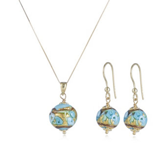 Murano Glass Premium Millerose Earring & Necklace Set 9ct Gold - 307871