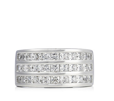 Diamonique 2.3ct tw Princess Cut Band Ring Sterling Silver - 311071