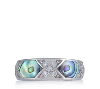 Diamonique 0.1ct tw Mother of Pearl Ring Sterling Silver - 309472