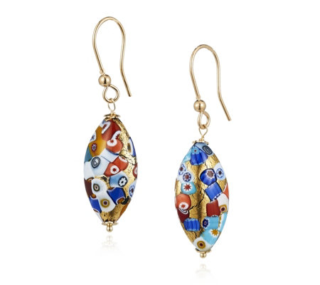 Murano Glass Mosaico Elongated Drop Earrings Sterling Silver
