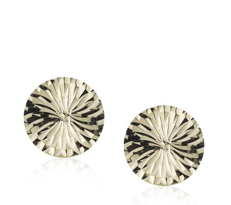9ct Gold Diamond Cut Disc Stud Earrings