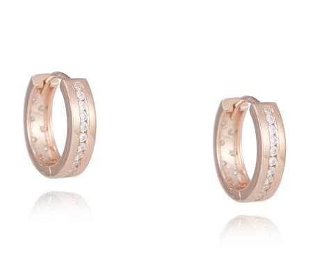 Diamonique 0.38ct tw Reversible Huggie Earrings Sterling Silver