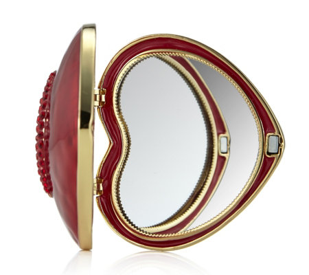 Butler & Wilson Heart Shape Compact Mirror with Crystal Lip