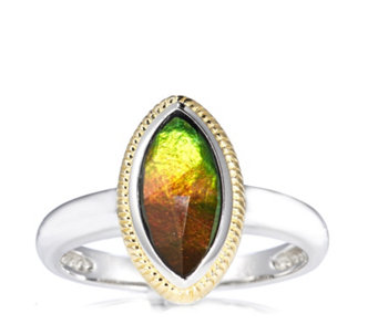 Canadian Ammolite Faceted Marquise Ring w/ Gold Plating Accent Sterling Silver - 306674