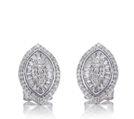 0.50ct Diamond Marquise Earrings 9ct White Gold