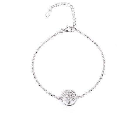 Diamonique 0.2ct tw Tree of Life 17cm Bracelet Sterling Silver