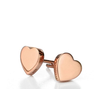 Fiorelli Heart Stud Earrings Rose Gold Plated Sterling Silver - 314674