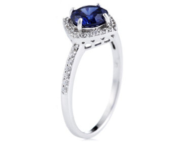 Diamonique 1ct tw Simulated Tanzanite Halo Ring Sterling Silver - 315274