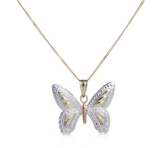 9ct Gold Tri-Colour Diamond Cut Butterfly Pendant & Chain - 307975