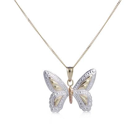 9ct gold tri colour diamond cut butterfly pendant 45cm chain qvc uk 9ct gold tri colour diamond cut butterfly pendant 45cm chain mozeypictures Gallery