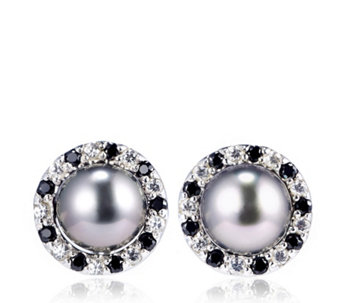 9mm Tahitian Pearls Halo Studs with Saucer Backs Sterling Silver - 309275
