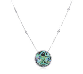 Diamonique 0.6ct tw Mother of Pearl 42cm Necklace Sterling Silver - 311275