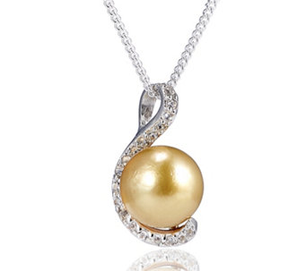 9-10mm Cultured Golden South Sea Pearl Pendant & Chain Sterling Silver - 309276