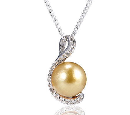 9 10mm cultured golden south sea pearl pendant chain sterling 9 10mm cultured golden south sea pearl pendant chain sterling silver aloadofball Image collections