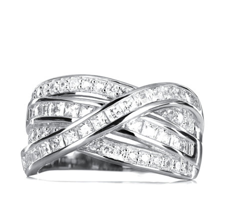 Diamonique 1.8ct tw Cross Over Ring Sterling Silver
