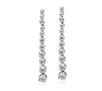 Diamonique 0.9ct tw Linear Drop Earrings Sterling Silver - 306477