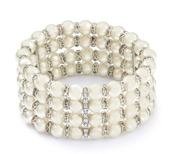 Loverocks Simulated Pearl & Crystal Cuff Bracelet - 308677