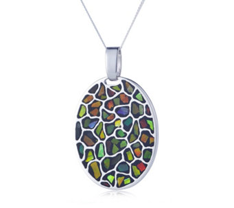 Canadian Ammolite Elements Oval Pendant & Chain Sterling Silver - 309577