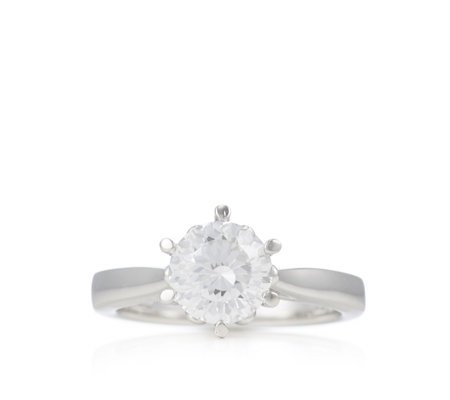 Diamonique 2ct tw Sunburst Cut Solitaire Ring Sterling Silver