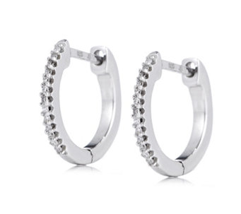 Lisa Snowdon Diamond Mini Huggie Earrings Sterling Silver - 318977