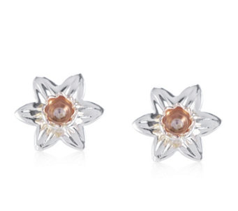 Clogau 9ct Rose Gold & Sterling Silver Daffodil Stud Earrings - 319477
