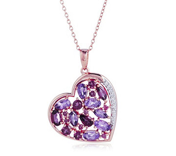 2.7ct Amethyst Heart Pendant 45cm Chain Sterling Silver Rose Gold Vermeil - 323077